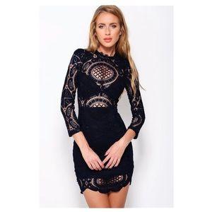 Black Crochet Lace Dress Womens